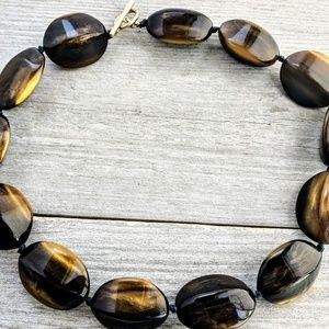 Chunky brown knotted bead choker